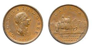 Самая первая монета Багамских островов была – медный пенни