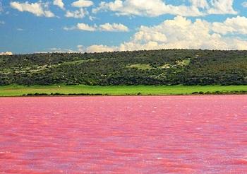 озеро Хиллер, розовые воды которого, притягивают множество туристов
